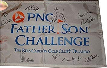 2013 Arnold Palmer PNC Father and Son Challenge Field Autographed Signed Pin Flag 15 Signatures (Nick Faldo