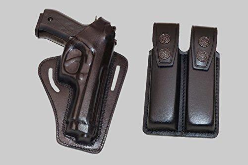 ALIS30306 2 Slot Pancake Leather Holster Thumb Break RH with Double Magazine Pouch Fits Beretta 92 92F 96 B803 Taurus 92&99 Handmade! (Black) (Aa Plain Leather Holster)