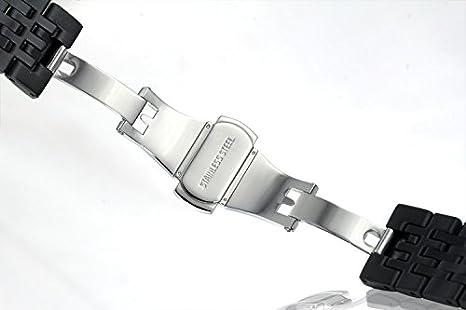 Correas 23mm de acero negro para relojes acero inoxidable 316l con enlaces sólidos cierre cepillado: Amazon.es: Relojes