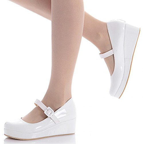 IDIFU Womens Sweet Round Toe Wedge Mid Heels Buckled Mary-Jane Shoes Pumps With Strap White 0JWKNM1dPL