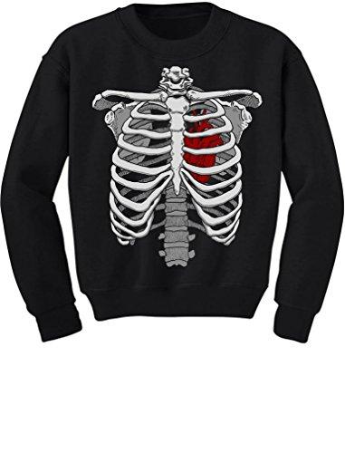 TeeStars - Halloween Skeleton Rib Cage Heart Xray Costume Youth Kids Sweatshirt X-Large Black (Xray Skeleton Kids Costume)