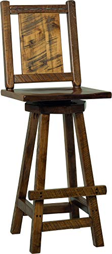 Amish Maple Bar Stool - Set of 2 - Rustic Wormy Maple Western Twist Bar Stools - Provincial Stain - Amish Made in USA