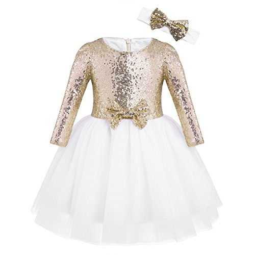 CHICTRY Flower Girls Dresses Toddlers Birthday Party Vintage Sequin Princess Tutu Dance Ball Gown Gold 12-18 Months -