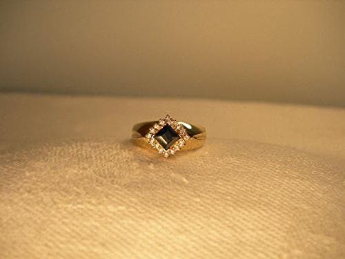 Beautiful Estate 14K Yellow Gold Sapphire Diamond Band Ring (Diamond Ring Sapphire Estate)