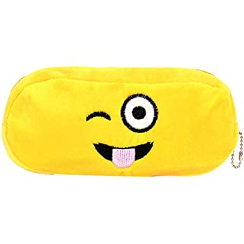 Amazon.com: Chords Winking and Tongue Out Plush Emoji Pencil Pouch ...