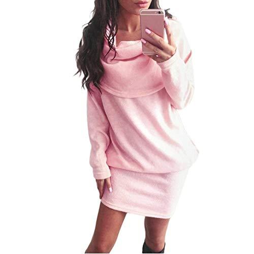 Manica Ragazza Rosa Autunno Pullover Puro Estivi Fashion Pacchetto Lunghi  Vestiti Bavero Maglioni Slim Dell anca Chic Inverno Donna Colore Casuali  Lunga ... 805a69ffb29