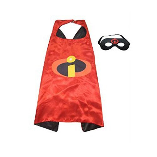 ERT13 Kids Dress Up Cartoon Superhero Costume with Satin Cape and Matching Felt Mask