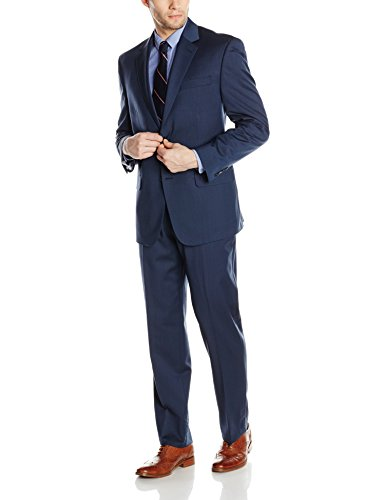 Bill Blass Men's Trent 2 Button Side Vent Suit with Flat Front Pant, Blue, 38 Regular