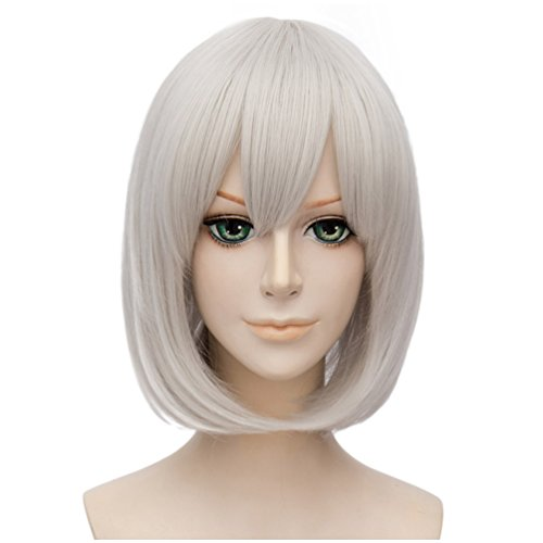 Flovex Short Straight Anime Bob Cosplay Wigs Natural Sexy Costume Party Daily Hair with Bangs (Silver White) -