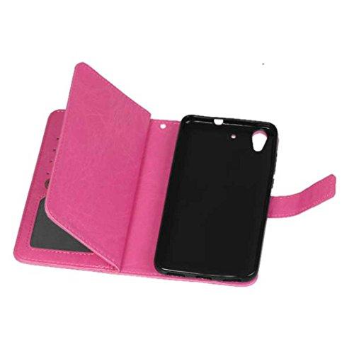 XHD-Protección del teléfono Funda Huawei Hornor 5A Y6 II, funda de la cartera de la caja de cuero PU retro con funda de 9 tarjetas función del soporte del tirón para Huawei Hornor 5A Y6 II simple y mo Pink