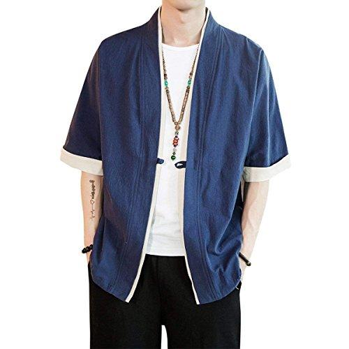 言及する社会学冗長個性 シャツ メンズ 半袖 開襟シャツ カジュアル ゆったり 無地 和風 綿 大きいサイズ 夏 春秋