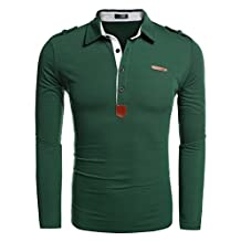 Coofandy Mens Casual Turndown Collar Long Sleeve Solid Slim Fit Polo Shirt T-Shirt