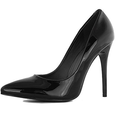 DailyShoes Women's Classic Fashion Stiletto Pointed Toe Pairs-01 High Heel Dress Pump Shoes, Black PT, 8.5 B(M) - Stiletto Heel Classic Pumps