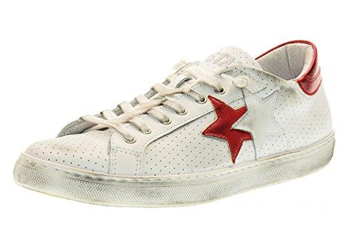 2 STAR scarpe uomo sneakers basse 2SU 1401 BIANCO/ROSSO Bianco-rosso