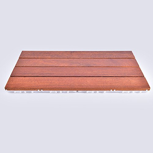 Flooring Wooden floor, outdoor patio garden Terrace anticorrosive solid wood DIY floor, indoor balcony Bathroom wooden anti-skid mosaic floor, solid wood self-pelling square floor size: 60303cm