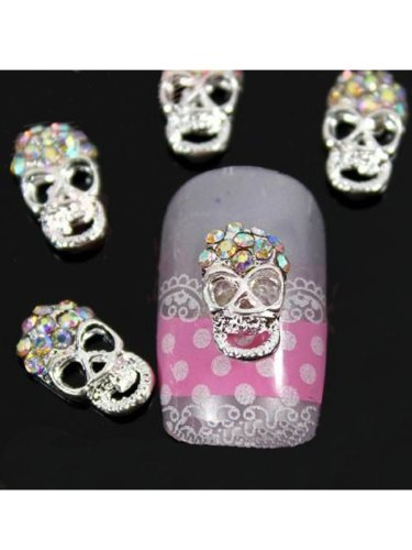 Vip Beauty Shop Sellingpillar 10pcs Silver Skull Alloy 3d Ab Rhinestone Crystal Nail Art Tips Slice Decoration