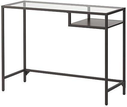 IKEA ASIA VITTSJO Mesa para portátil (cristal negro), color marrón