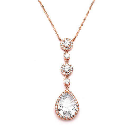 Mariell Genuine 14K Rose Gold Plated Blush Bridal Necklace Y-Style Pendant with Cubic Zirconia Teardrop