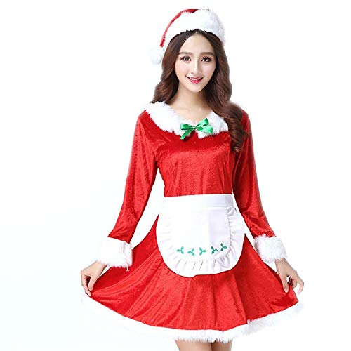 Women's Christmas Costume Set Maid's Workwear Cosplay Costume Santa Claus(Red F(S-XL)) -