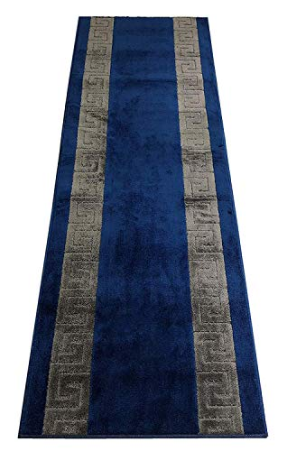 RugStylesOnline Custom Runner Meander Roll Runner 26 Inch Wide x Your Length Size Choice Slip Skid Resistant Rubber Back 2 Color Options Euro Collection (Royal Navy Blue, 5 ft x 26 in)