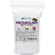 Metabolism Bath Salt 32oz (2-Lbs) Epsom Salt Bath Soak With Grapefruit & Geranium Essential Oil & Vitamin C - Helps Boost Your Metabolism Naturally With No Perfumes & No Dyes