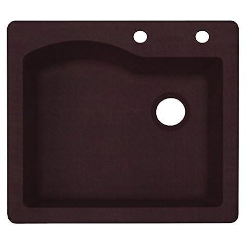 Swaoi #Swanstone QZ02522SB.170-2C 22-In X 25-In Granite Kitchen Sink 2-Hole, Espresso, (Brown Granite Kitchen Sinks)