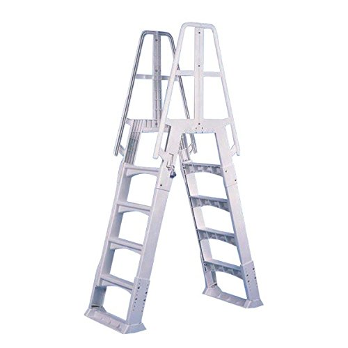 SmartPool SPAGLDR Vinyl Works A-Frame Ladder with Barrier, White, Large