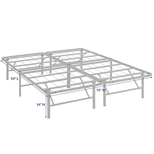 Modway Horizon Full Bed Frame In Gray - Replaces Box Spring - Folding Portable Metal Mattress Bed Frame With Storage - Low Profile - Heavy Duty