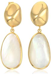 18k Gold Plated Sterling Silver Mother of Pearl 18x11mm Drop Earrings