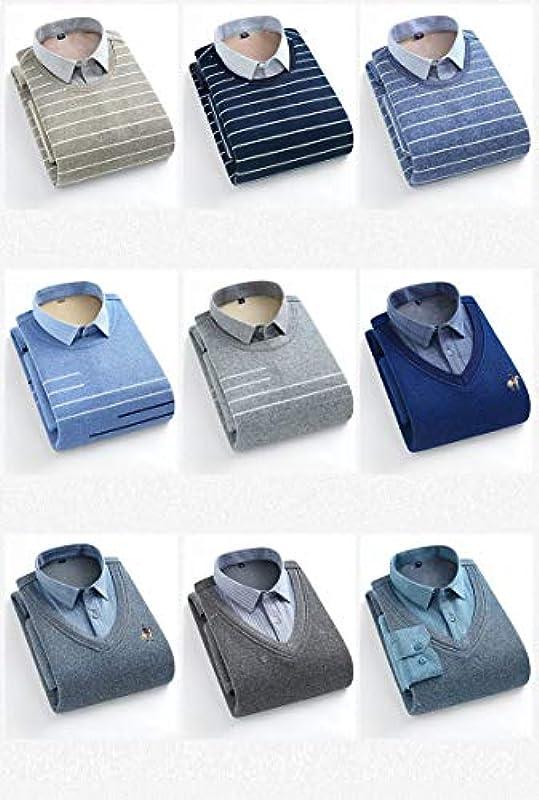 Elonglin Męskie Jungen Dicke Sweater Strick Pullover Hemd Langarmshirts mit Warmfutter Freizeit Slim Fit Blau 12 L: Odzież