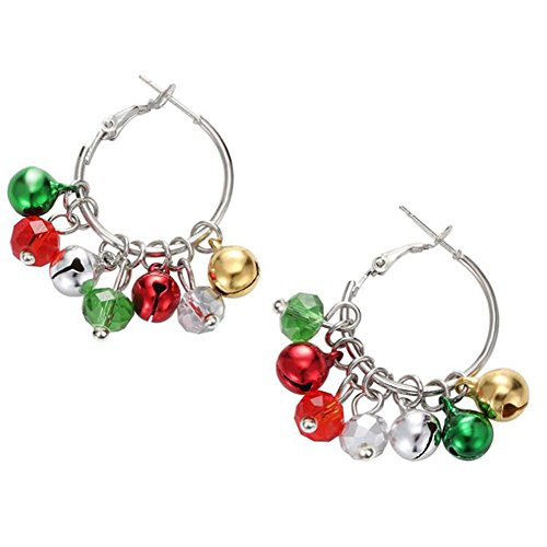 (Dylandy Bells Earrings Dangle Earrings Christmas Jingle Bells Drop Silver Plated Drop Hook Earrings for Women Girl Ear Jewelry)