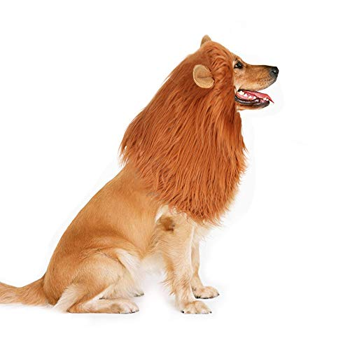 King Dog Pet Costume - Docamor Dog Lion Mane Costume - Funny Lion King Mane Wig for Medium and Large Dogs - Adjustable Pet Cosplay Clothes for Halloween Party