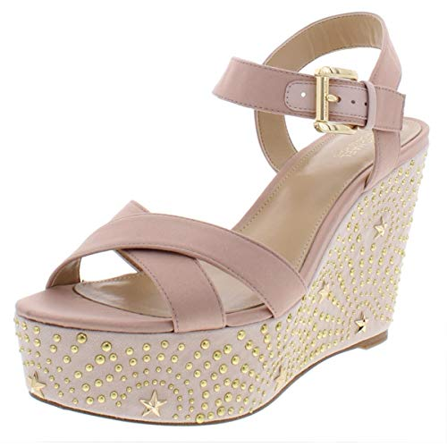 Michael Michael Kors Womens Sia Leather Studded Wedges Pink 9 Medium (B,M)