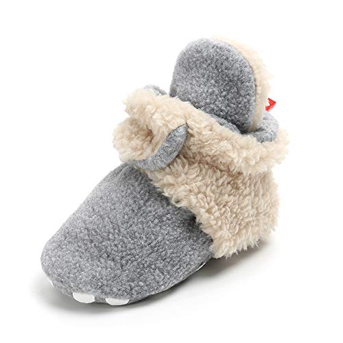 (Isbasic Unisex Baby Cozie Fleece Lined Booties Non-Slip Soft Sole Infant Winter Warm Socks Shoes (Grey&Beige 6-12 Months))