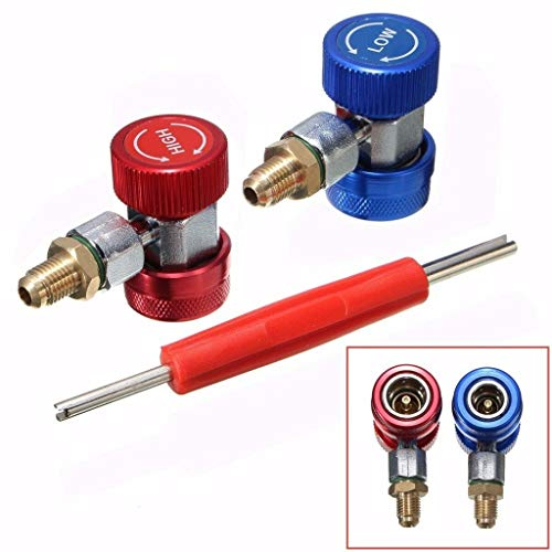 Maikouhai R134A Quick Adapter Coupler Connector A/C Fittings High Low Air Conditioner Manifold Gauge Hose Conversion Kit Manifold Gauge & Remover Tool