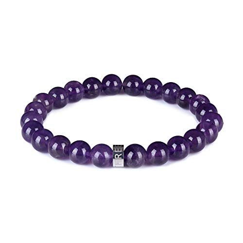 Three Keys Jewelry 8mm Natural Amethyst Gemstone Beads Bracelet Semi Precious Handmade Gem Stone Healing Beads Meditation Energy Stretch Bracelet Unisex 7