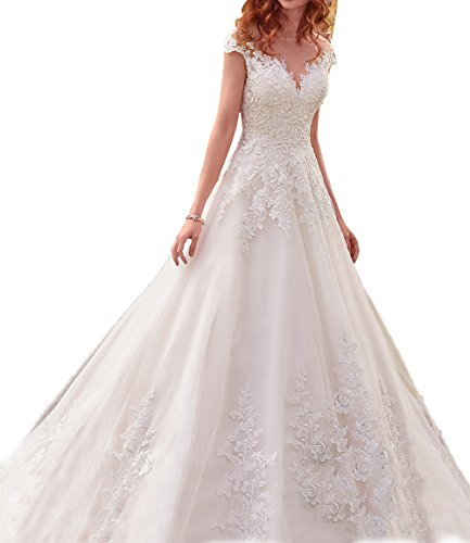 Scoop Neckline Chapel Train - SHNE Women's Vintage Sheer Scoop Beaded Sequins Lace A Line Wedding Dress for Bride White US2