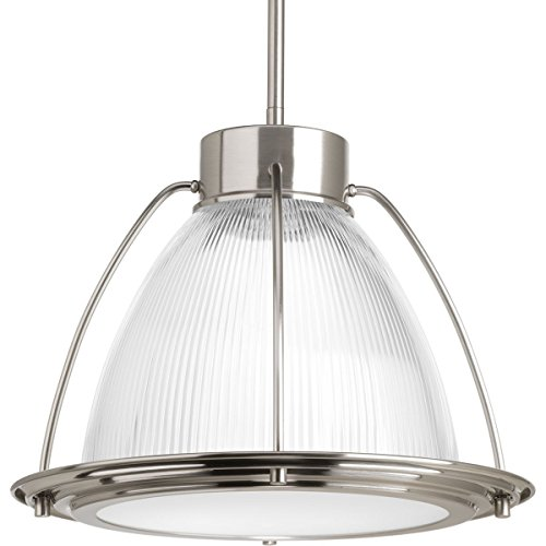 SaintMossi® One Light Stem Hung Brushed Nickel Frosted Prismatic Glass E26 Mini Pendant Light
