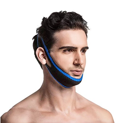 (Chin Strips Strap for Stop Snoring, Recommend by Doctors, Elastic Belt Band with Adjustable Velcro Locker,Comfortable & Breathable, Universal Size (Blue))