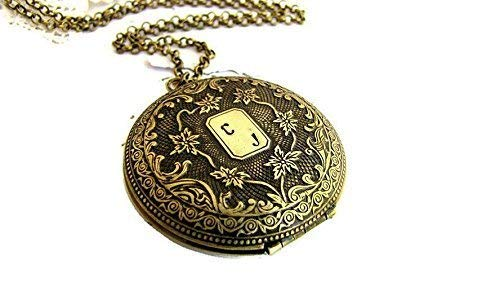 Loss Locket Necklace Poem Letter Personalized Floral Carved custom initials -