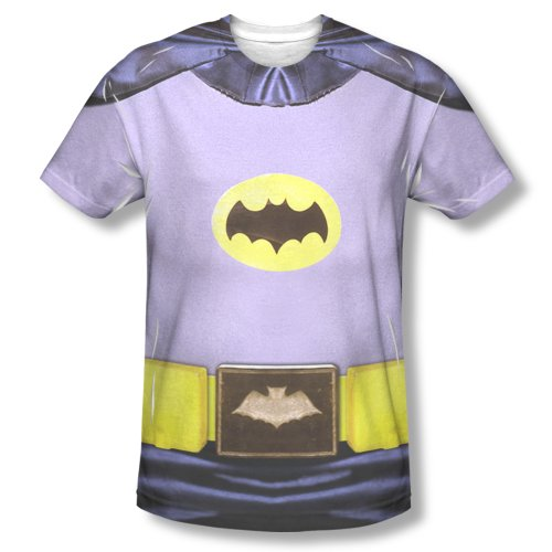 Batman Adam West Costume (Batman TV Series - Men's T-Shirt Batman Costume design , Large, White)