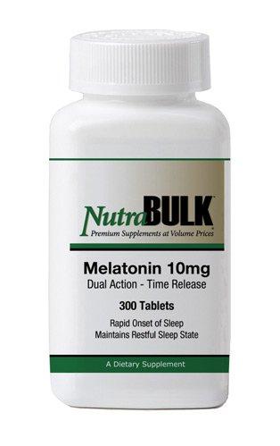 NutraBulk Mélatonine 10mg - 300 Count - Rapid Onset, soutenue sommeil