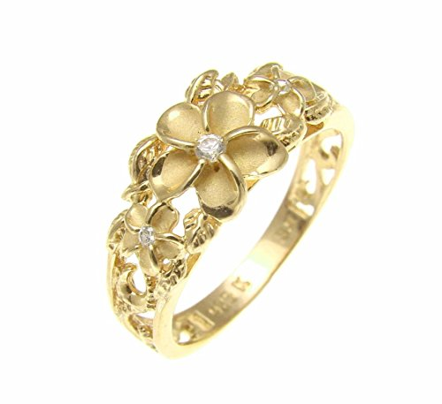 (Yellow gold plated silver 925 Hawaiian 3 plumeria flower cz ring maile leaf cut out scroll size 10)