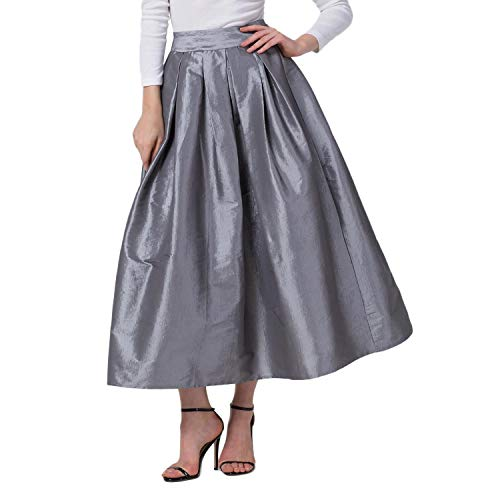 - Rostiumise Women's High Waist Pleated A-line Flared Skirts Maxi Long Skirts(Grey,S)