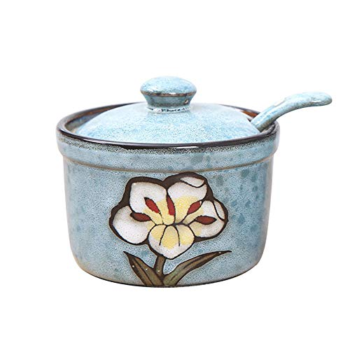 VanEnjoy Retro Hand Painted Flower Ceramic Round Sugar Spice Containers Porcelain Jar with Spoon Round Condiment