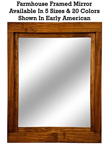Farmhouse Large Framed Mirror Available in 6 Sizes and 20 Stain Colors: Shown in Early American- Large Wall Mirror - Decor for Living Room - Mirror Decor - Bathroom Vanity Mirror ()