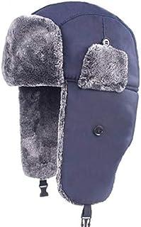 HATCHMATIC Outdoor Bomber Unisexe Hiver Coupe et imperméable Chapeau Hommes Femmes Randonnée Simple Bordée Trapper Thermique réglable Hat # 1 016: Bleu Marine