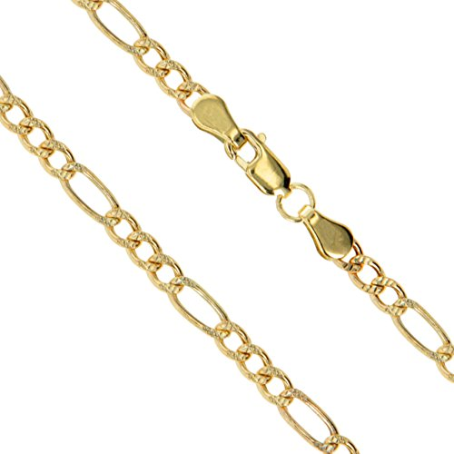10k Yellow Gold-Hollow Pave Figaro Link Chain 3.3mm Bracelet 7