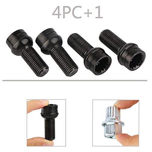 Amazon.com: Qiilu 5pcs/Set 14mm M14 Antitheft Wheel Bolts & Lock Lug Nut Cap with Key 4+1 for VW Golf Jetta Beetle Passat Audi B5 8D0601139F 8D0 601 139F ...