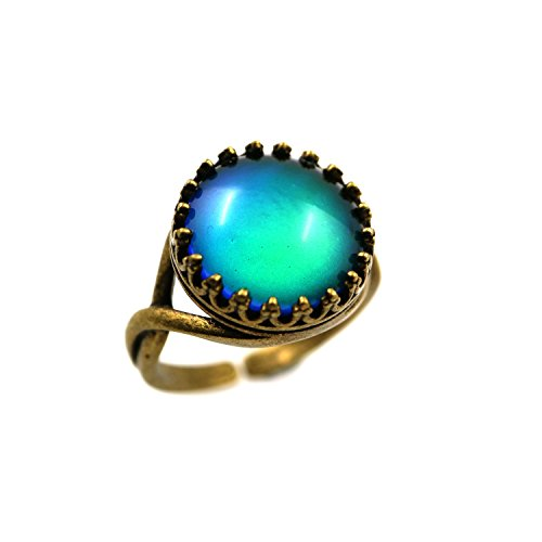 Crown Adjustable Ring (Vintage Style Round Cabochon Bronze Crown Women Color Change Mood Ring Adjustable Emotion Ring (Bronze))